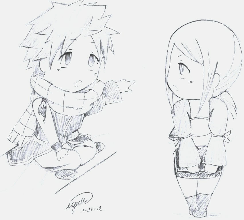 chibi sketch of natsu and lucy by esbelle