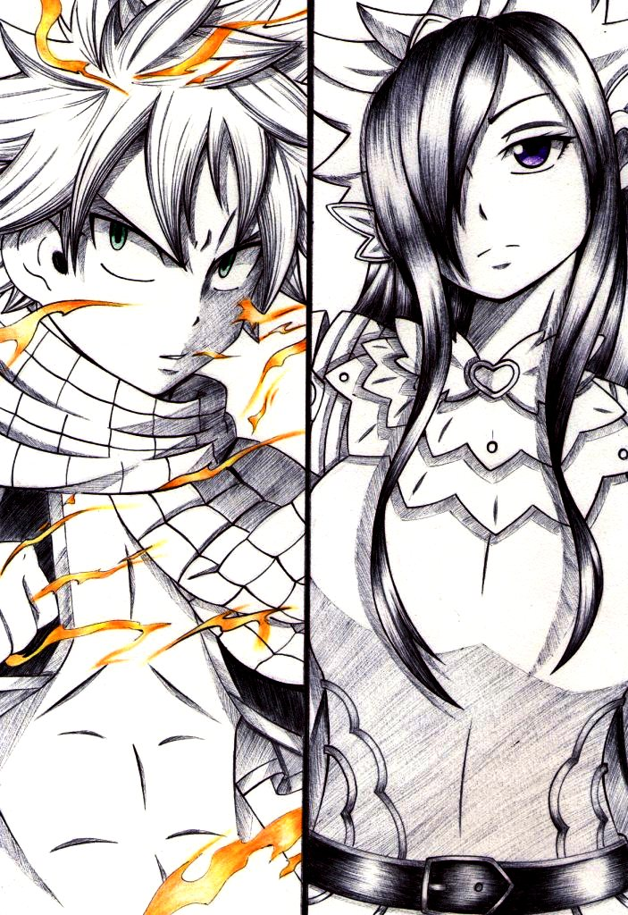 NATSU and ERZA by esbelle