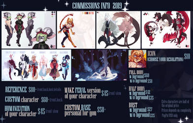 COMMISSIONS INFORMATION  2019 | price list