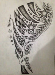 The drawing of forearm tattoo