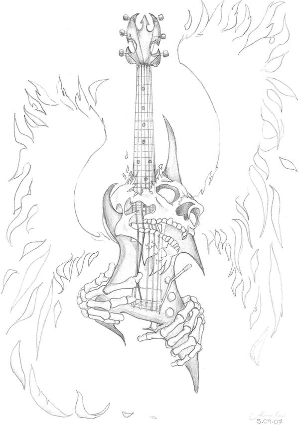 Skull Guitar tattoo by ~Gaaradeviant on deviantART