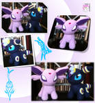 Chibi Standing Espeon and Umbreon Plushies