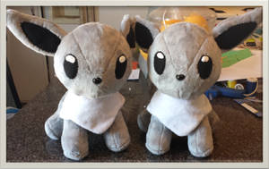 Minky Shiny Eevee Plushie Twins :Sold: by Ami-Plushies