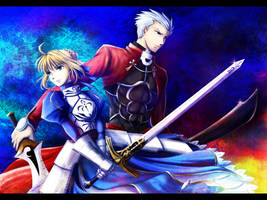 Saber and Archer by ploua