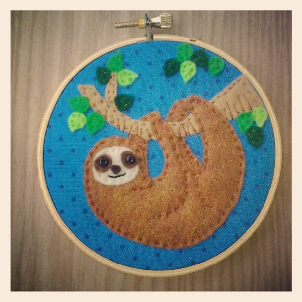 Itty Bitty Sloth Embroidery Hoop by iggystarpup