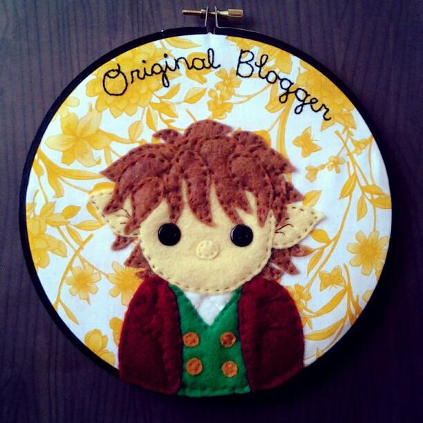 Original Blogger Bilbo Baggins Embroidery Hoop by iggystarpup