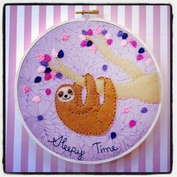 Sleepy Time Sloth Hoop by iggystarpup