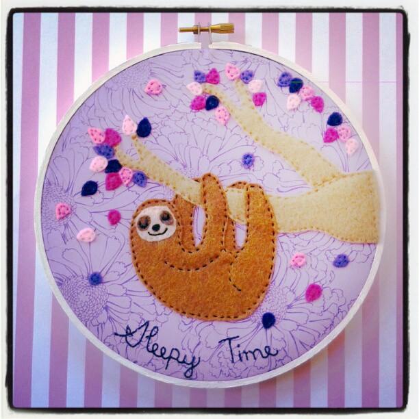 Sleepy Time Sloth Hoop by iggystarpup