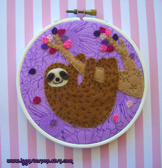 Purple Itty Bitty Sloth Hoop by iggystarpup