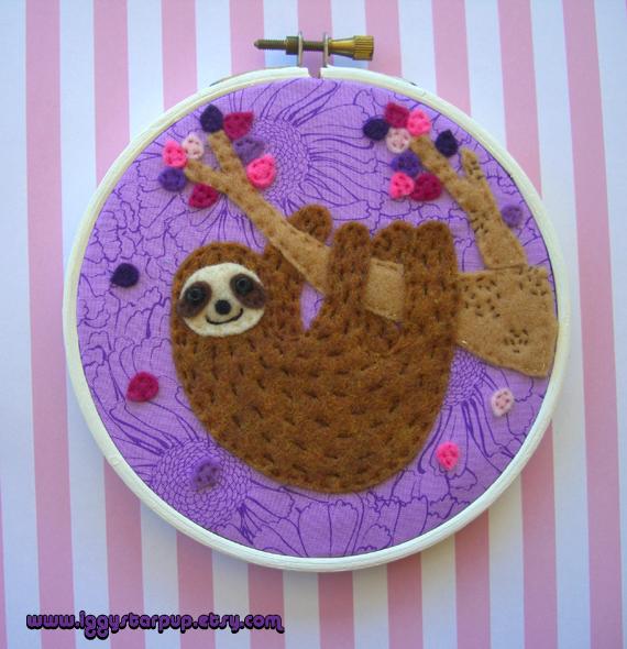 Purple Itty Bitty Sloth Hoop by iggystarpup