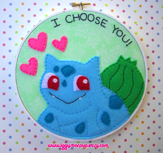Bulbasaur Embroidery Hoop by iggystarpup