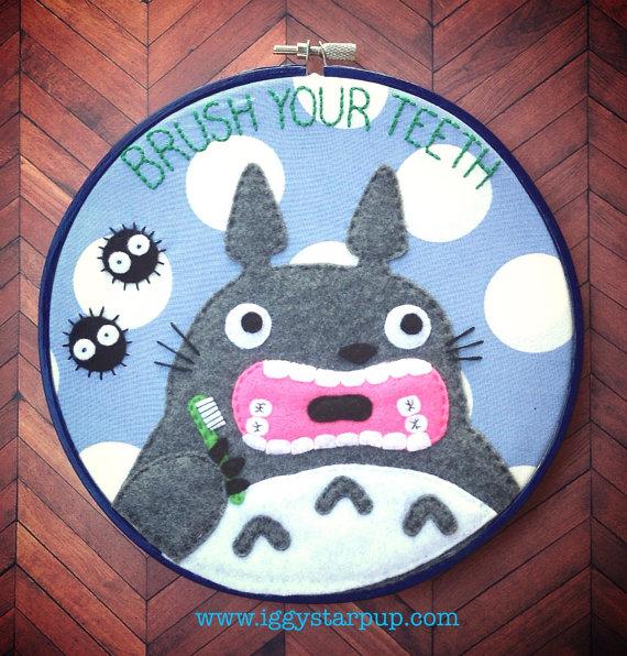 Totoro Brush Your Teeth Embroidery by iggystarpup