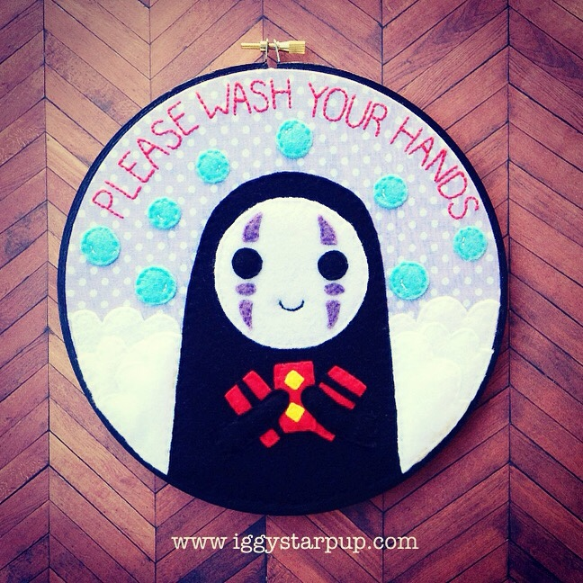 No Face Please Wash Your Hands hoop by iggystarpup