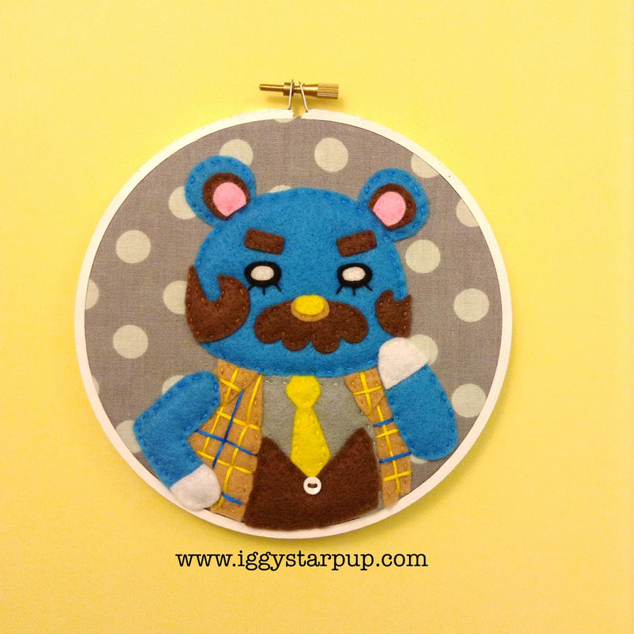 Animal Crossing Beardo Embroidery by iggystarpup
