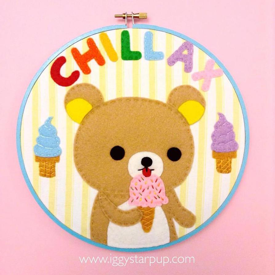 Rilakkuma Chillax Embroidery by iggystarpup