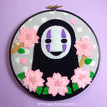 No Face Cherry Blossom Embroidery