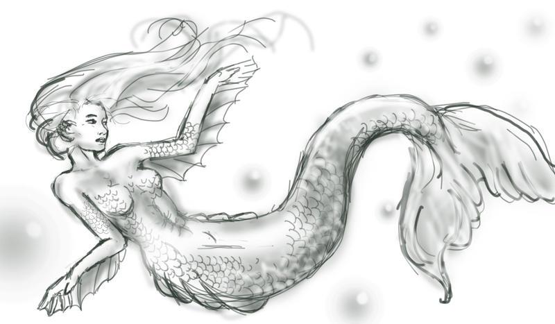 Mermaid sketch by zunk3n Mermaid Sketch