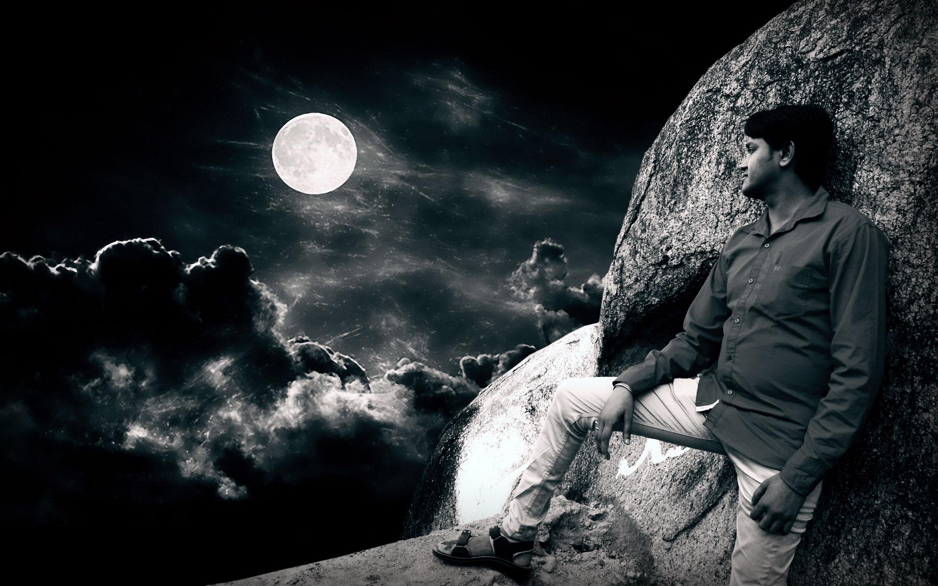 Night sky with lonley boy by sunilanand