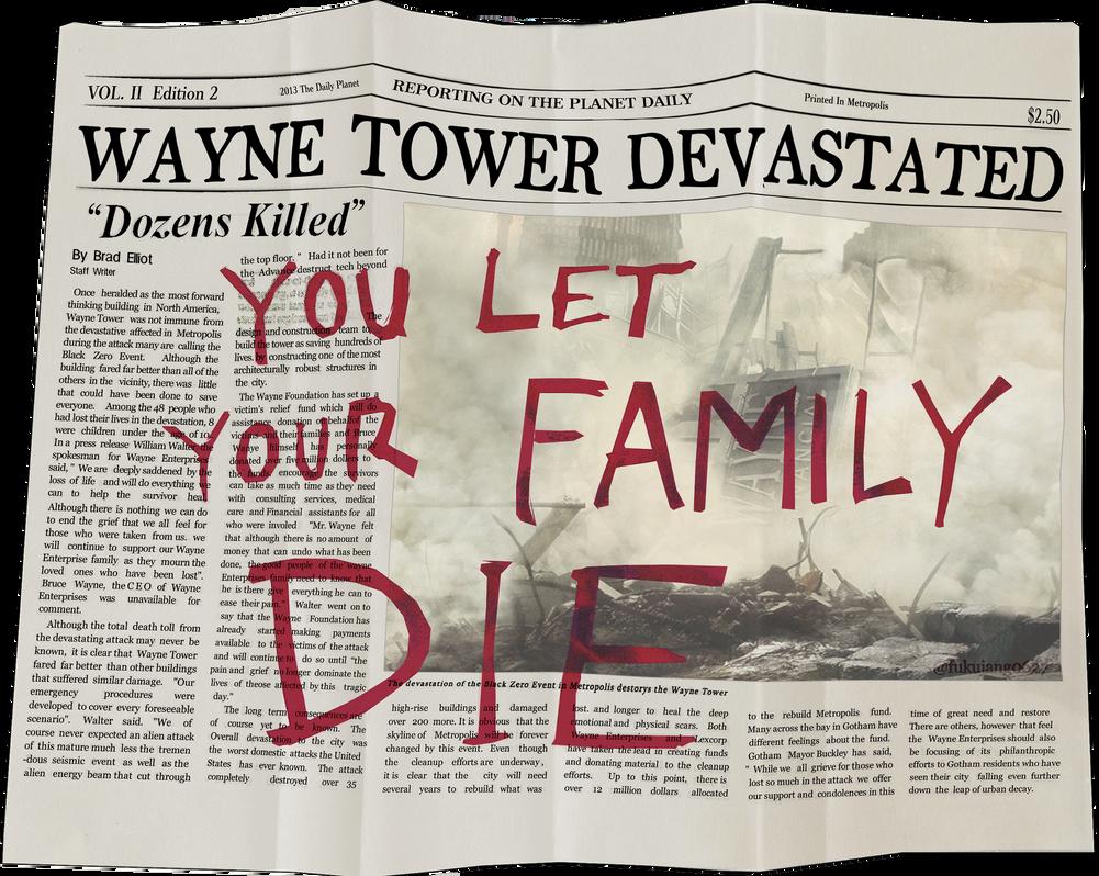 Wayne Tower Devastated Newspaper Recovered By Me Freakyzzang