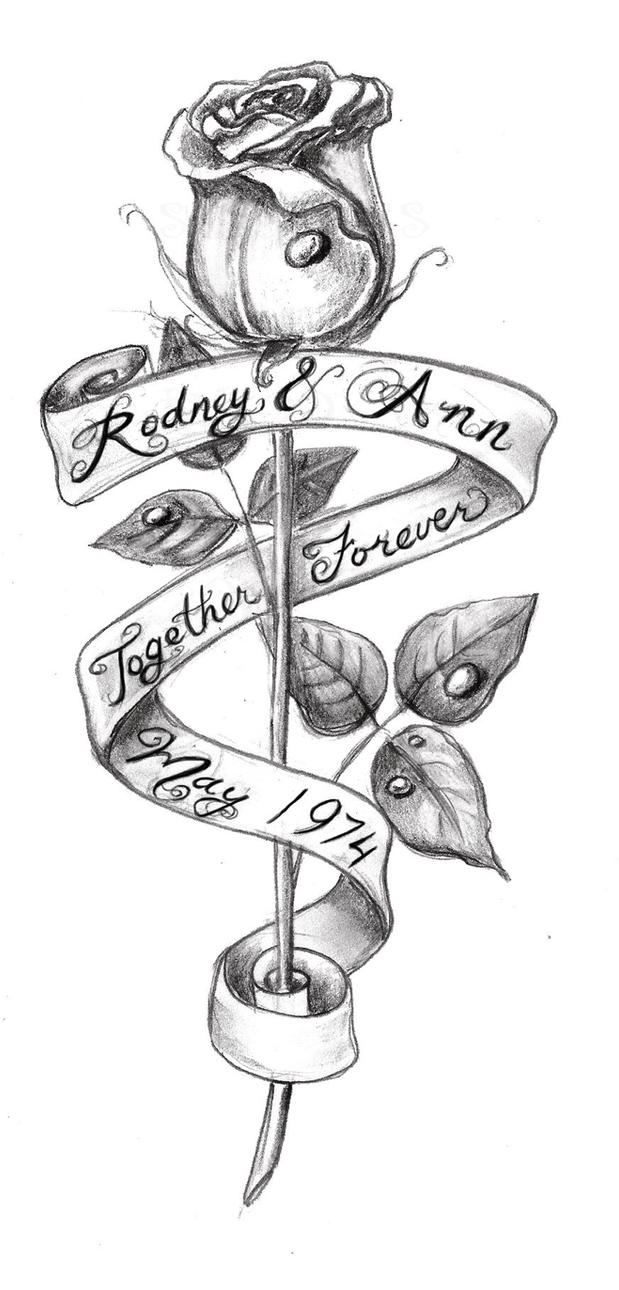 Rose With Banner Tattoos: Rose Tatoo Sketch By Absinthiaverte On DeviantArt