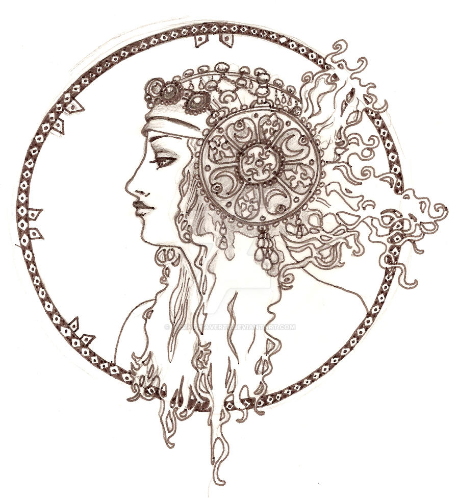 Art nouveau head by absinthiaverte on deviantart for Art nouveau shapes