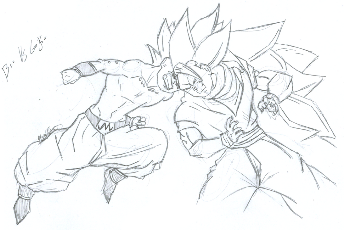 kid buu vs ssjiii goku by futuregohan on deviantart