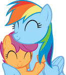 Rainbow Dash and Scootaloo - Snuggle!