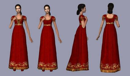 Red velvet regency court dresses