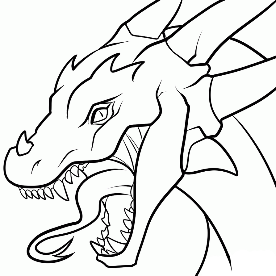 dragon head transparent lineart by dawnieda - Chinese Dragon Head Coloring Pages