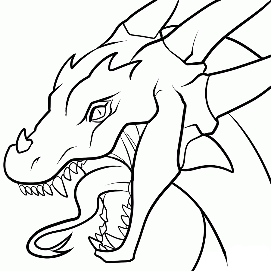 Dragon Line Drawing Easy : Dragon head transparent lineart by dawnieda on deviantart