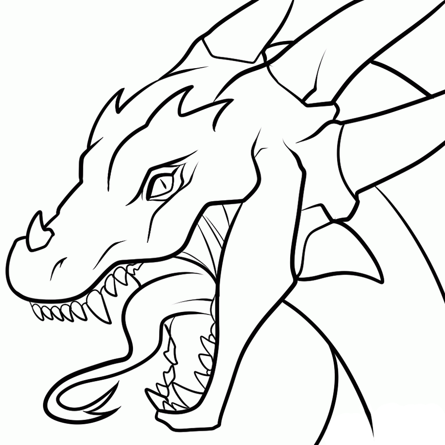 Simple Dragon Line Art : Dragon head white background lineart by dawnieda on