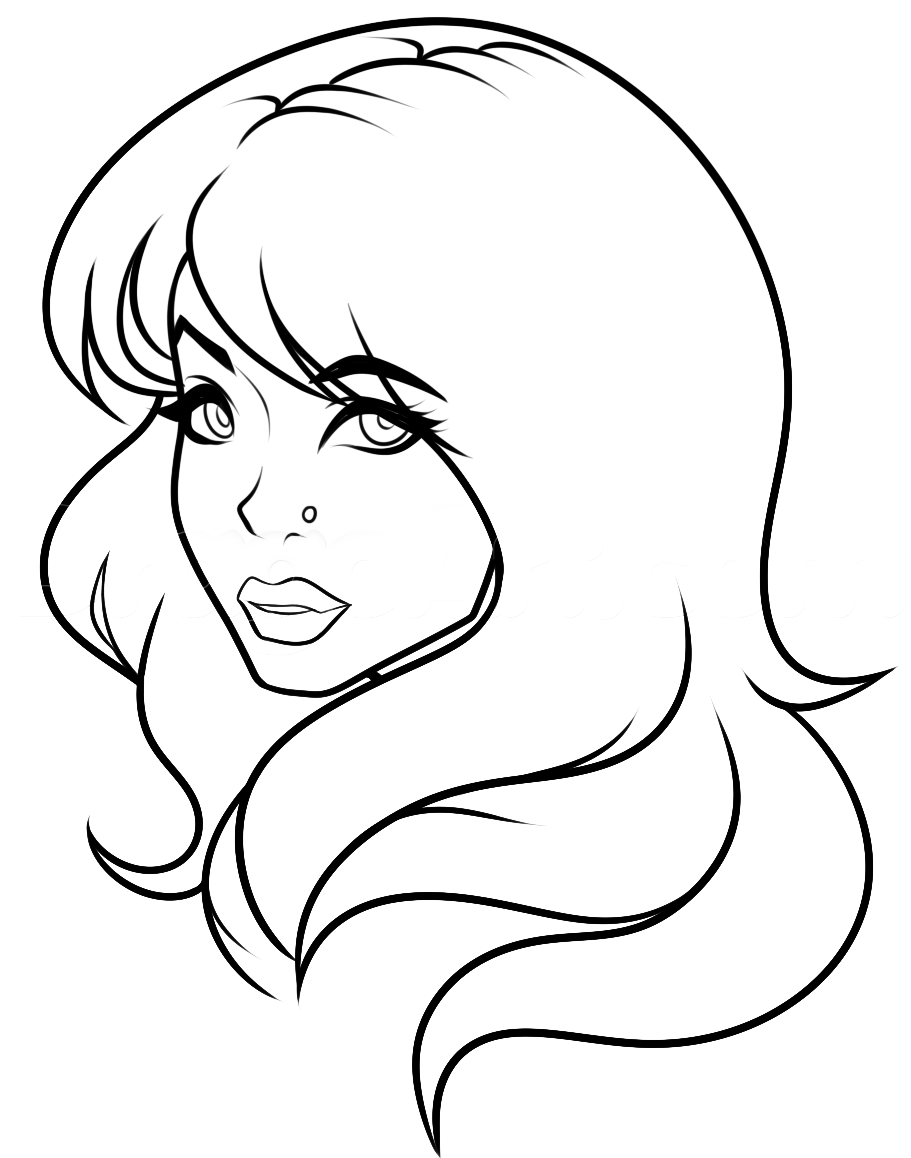 Line Drawing Face Profile : Side profile girl lineart white bg by dawnieda on deviantart