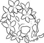 Flower Skull Lineart  - White BG