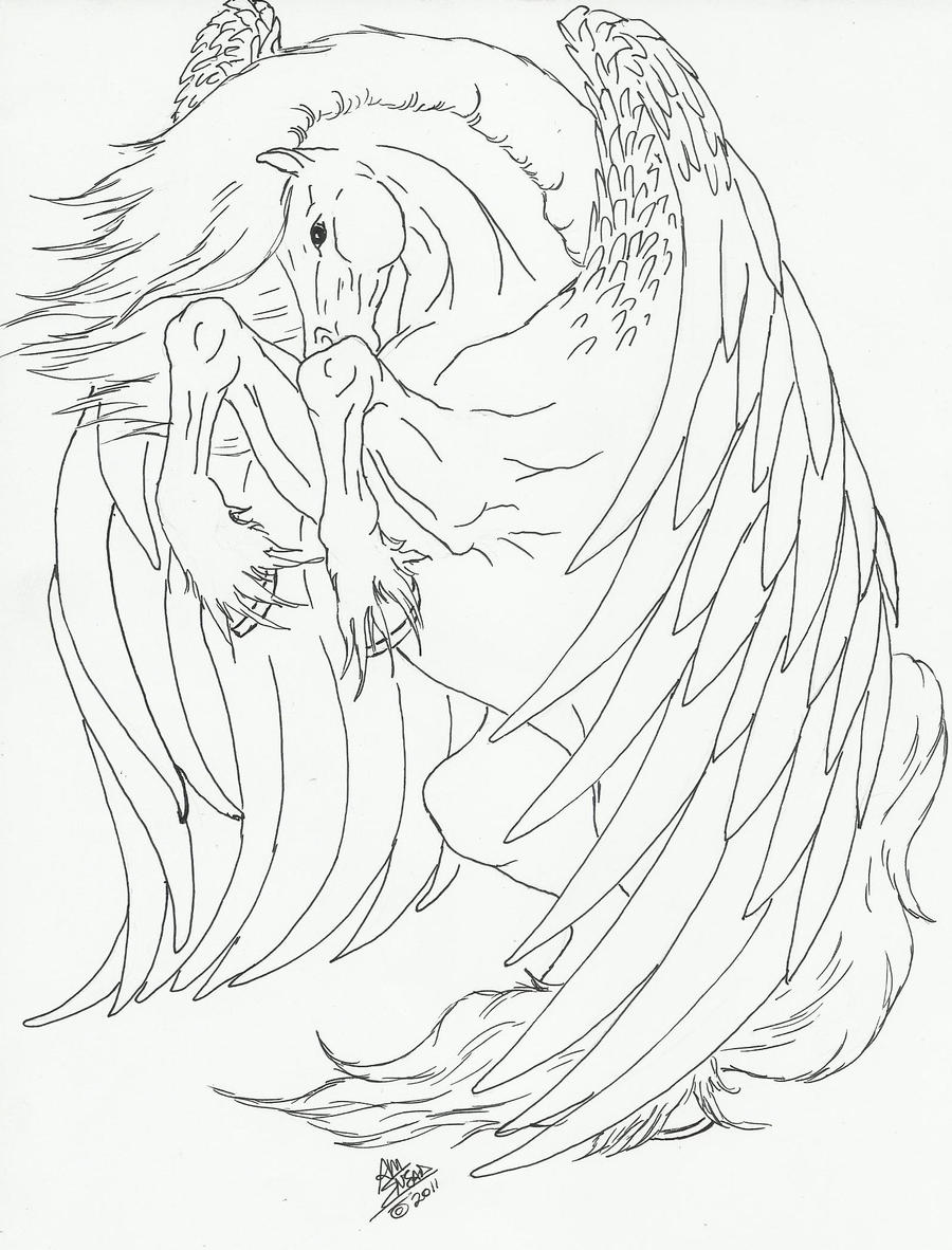 Pegasus line art by kmsnead on deviantart for Pegasus coloring pages