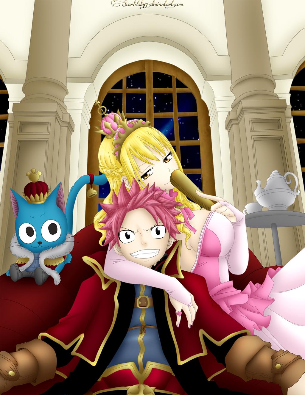 Natsu, Lucy and Happy by ScarletSky7