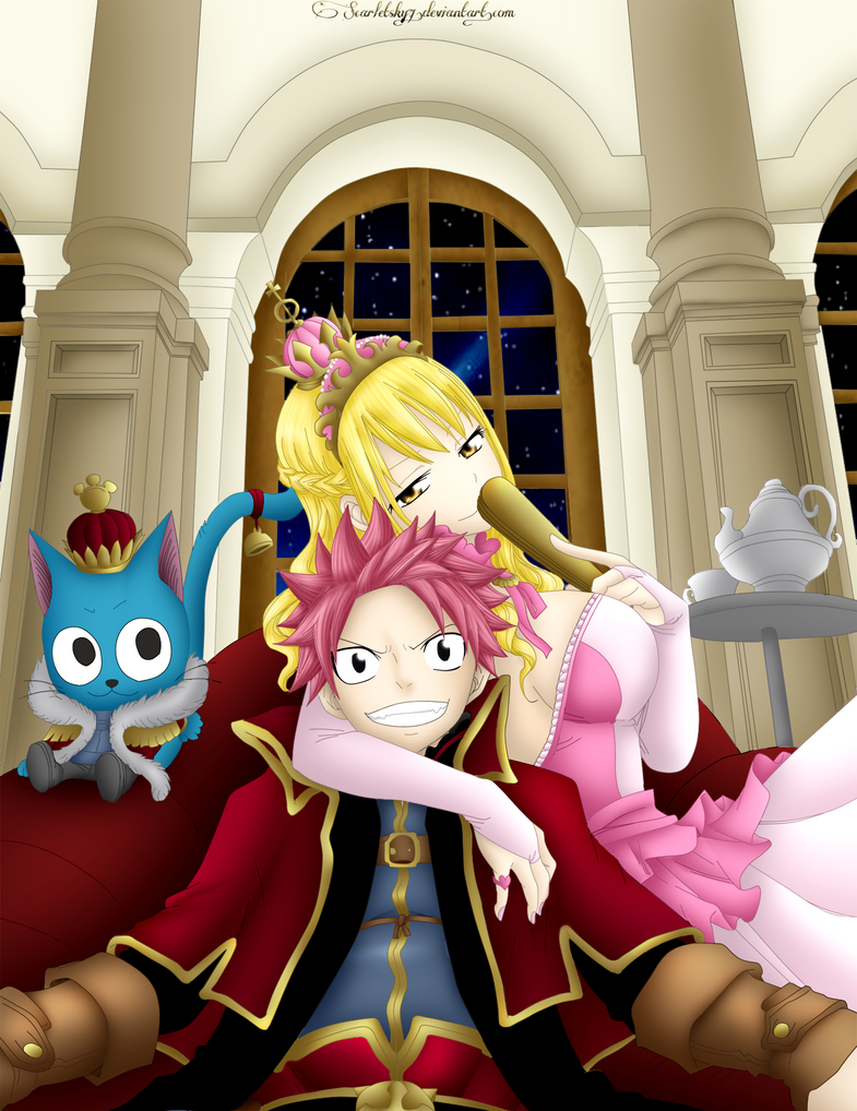 Natsu, Lucy and Happy by ScarletSky7