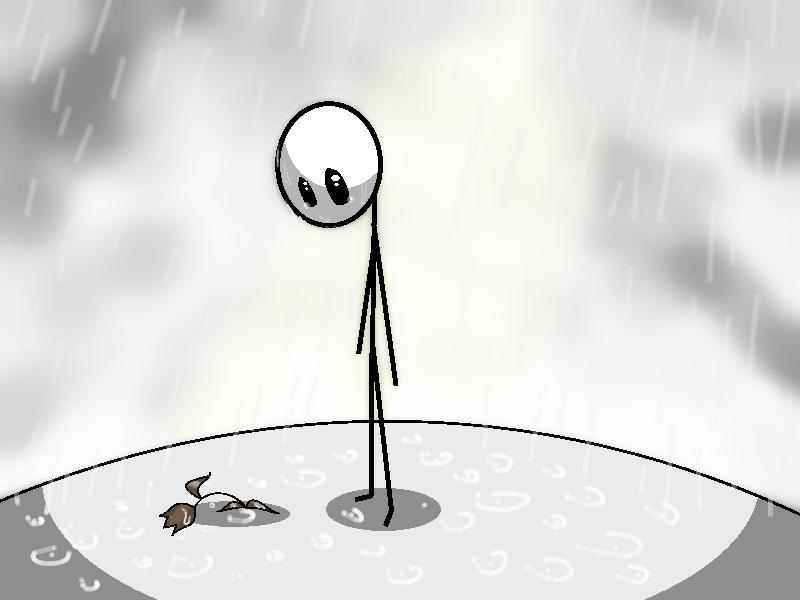 Sad stick man. by skyrore1999