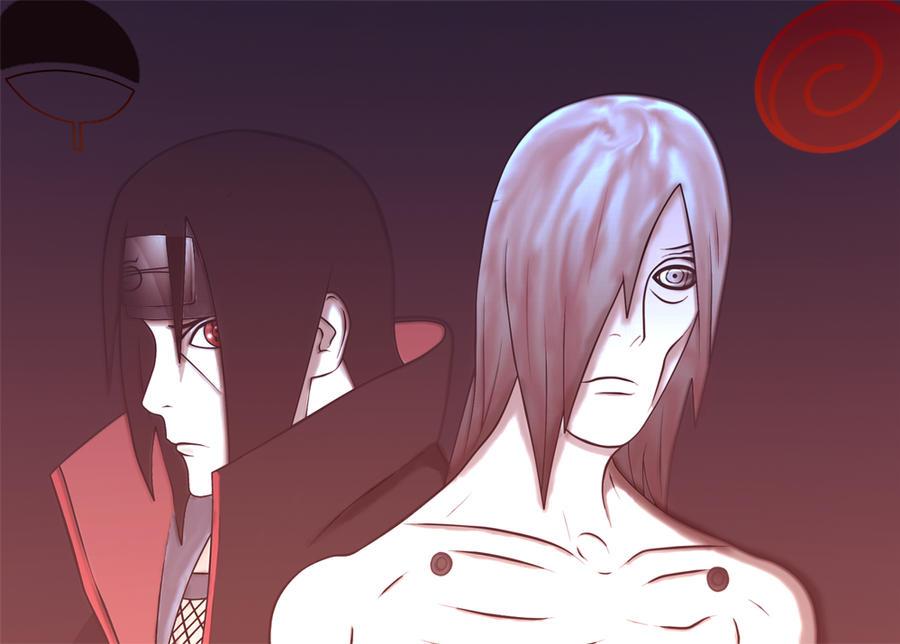 EMS Sasuke and Bijuu mode naruto vs Nagato and itachi