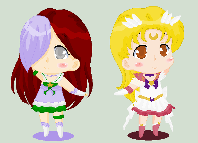 Christmas Chibi: Sailor X and Sailor Kuu by MahouChikara