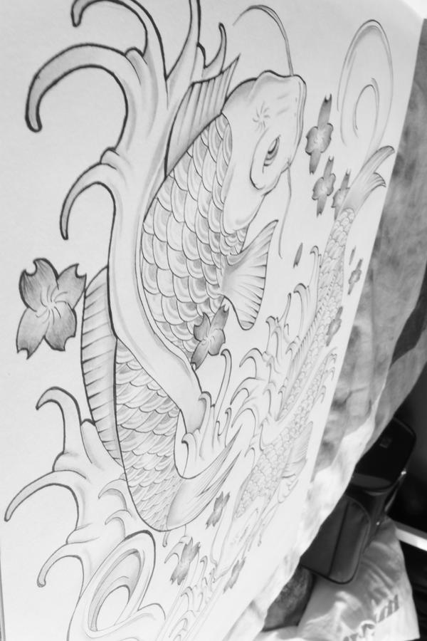 koi fish tattoo drawing