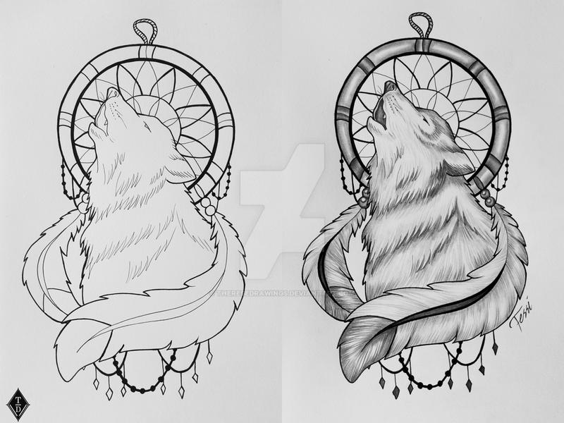 Dreamcatcher Wolf by ThereseDrawings