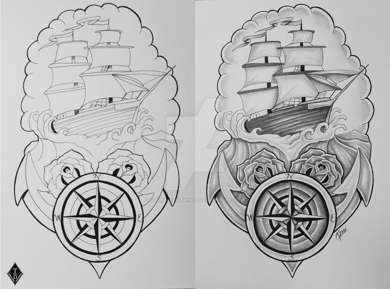 Ship and Compass by ThereseDrawings