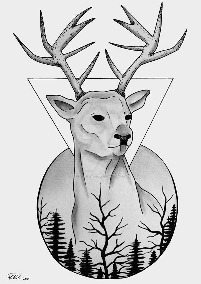 Deer Tattoo Design by ThereseDrawings