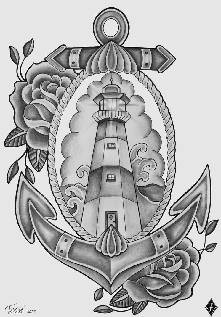 lighthouse tattoo design by theresedrawings on deviantart. Black Bedroom Furniture Sets. Home Design Ideas