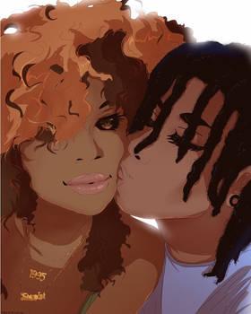 Sweet couple kisses [Commission]