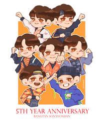 BTS 5th Year Anniversary by keiyaumi