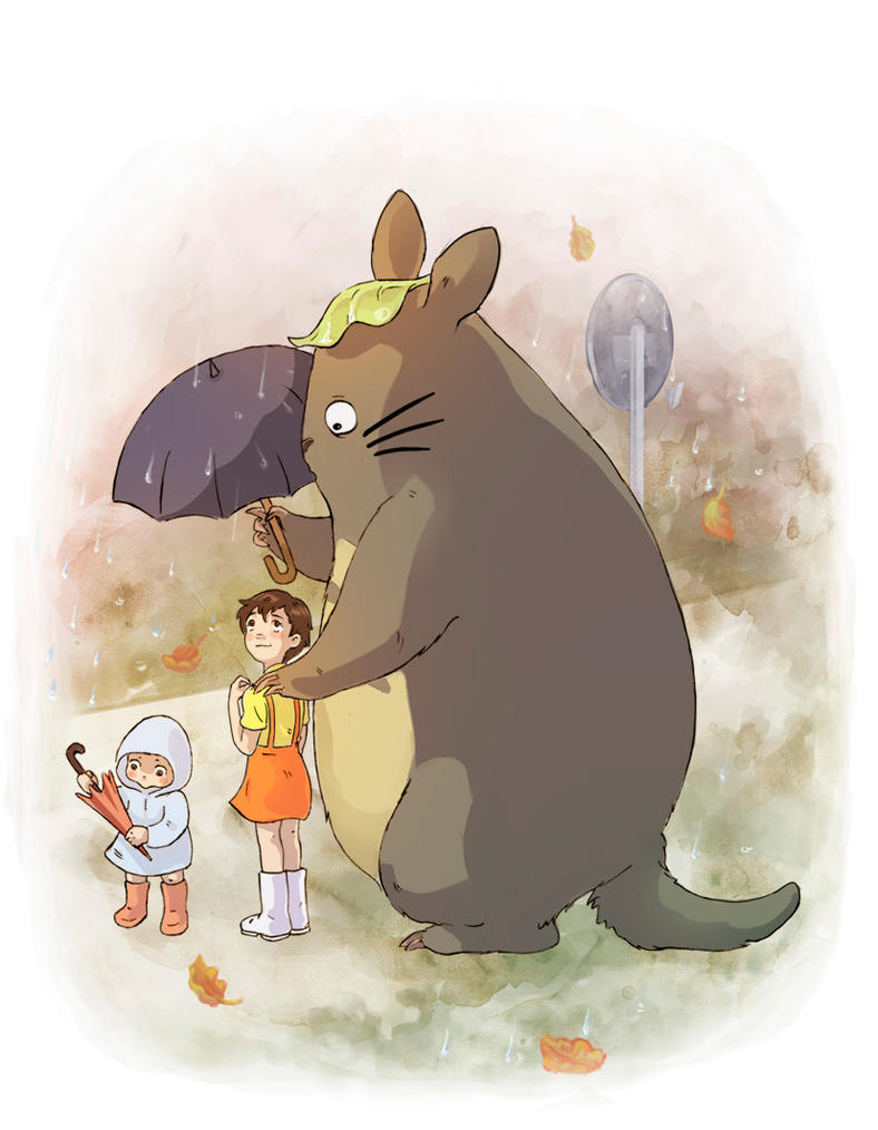 Totoro at the Bus Stop by feralkin