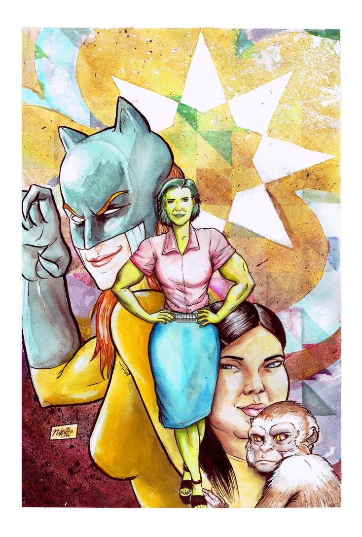 She-Hulk, Hellcat, Angie Huang and Hei Hei! by Nick-OG