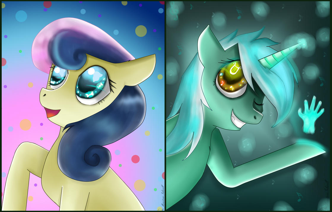 [MLP] Lyra and BonBon. by MonotoneInkwell