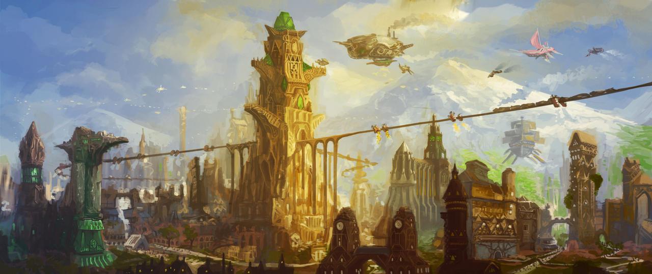 Empyrean City Sky Station by JoshuaCadogan